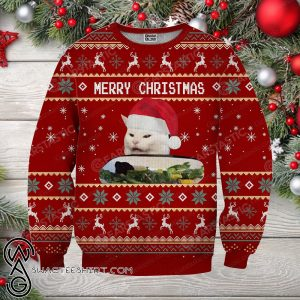 Woman yelling at cat full printing ugly christmas sweater