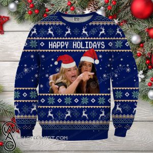 Woman yelling at cat meme full printing ugly christmas sweater