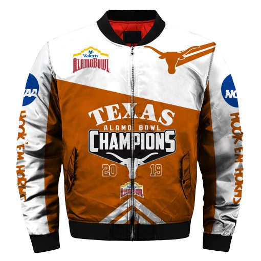 2019 alamo bowl champions texas longhorns all over printed bomber