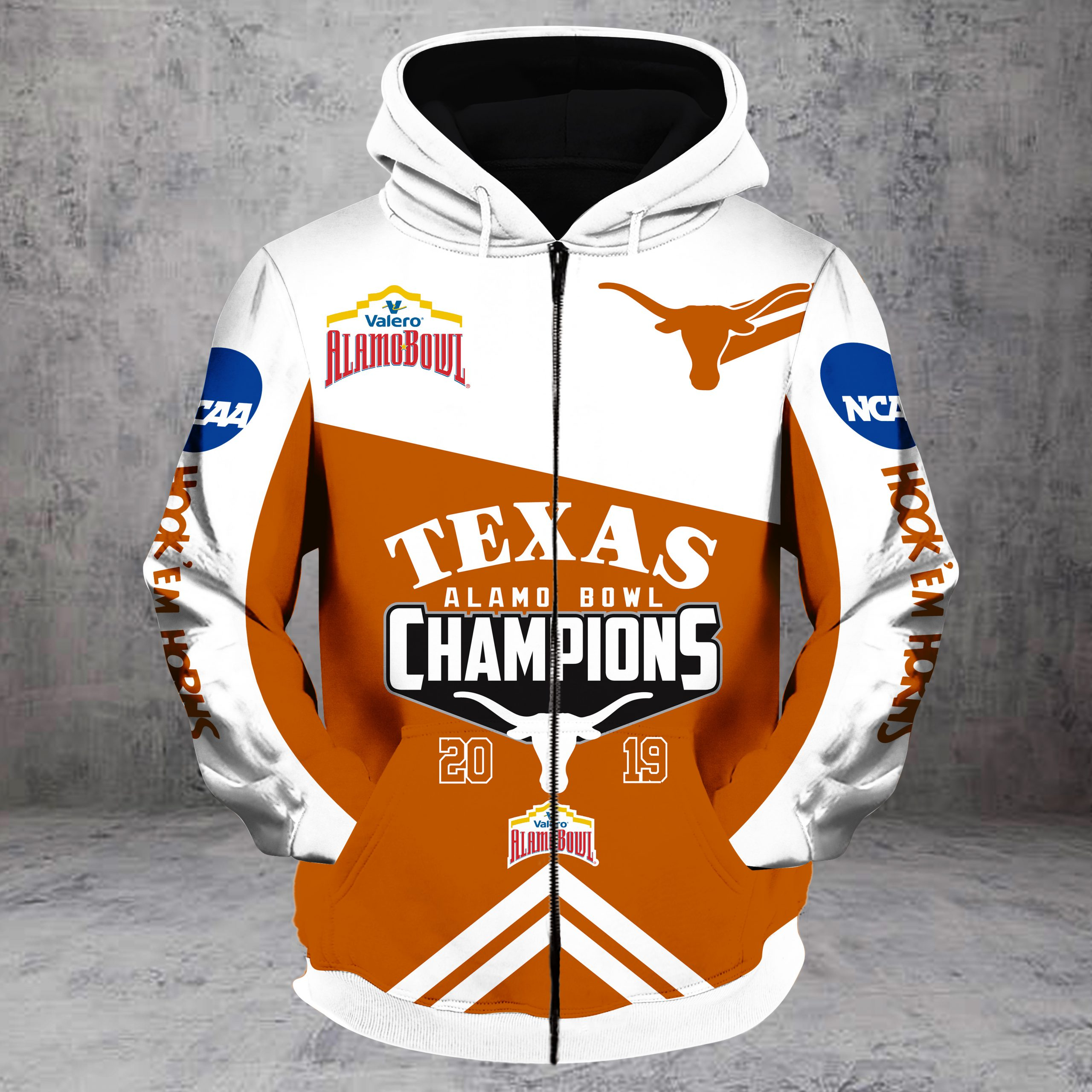 2019 alamo bowl champions texas longhorns all over printed zip hoodie