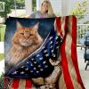 American flag cat all over printed quilt