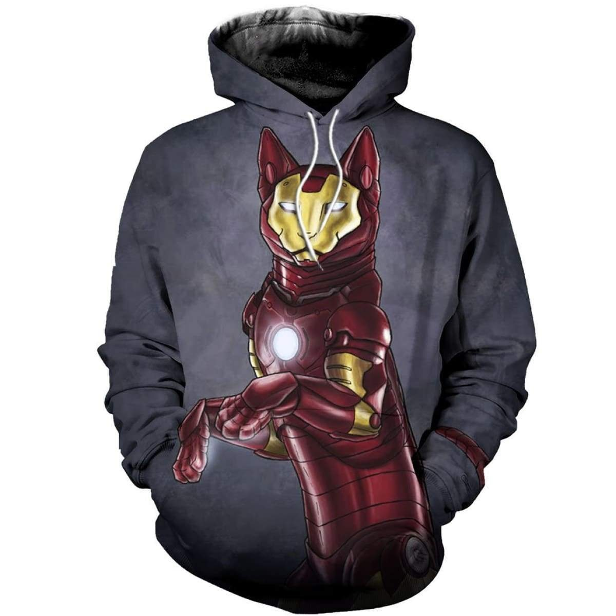 Avengers iron man iron cat all over print hoodie