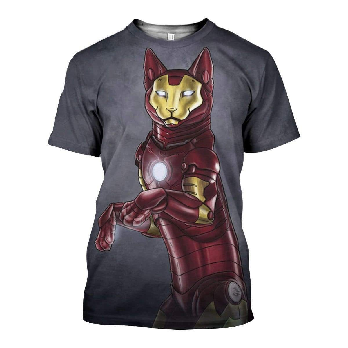 Avengers iron man iron cat all over print tshirt