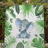 Baby elephant tropical quilt