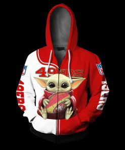 Baby yoda san francisco 49ers full over print zip hoodie