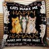 Cats make me happy humans make my head hurt quilt