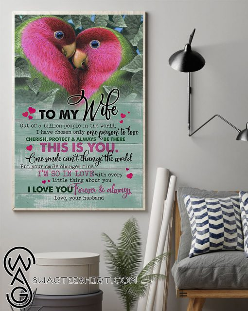 Couple parrot to my wife i love you forever and always love your husband poster