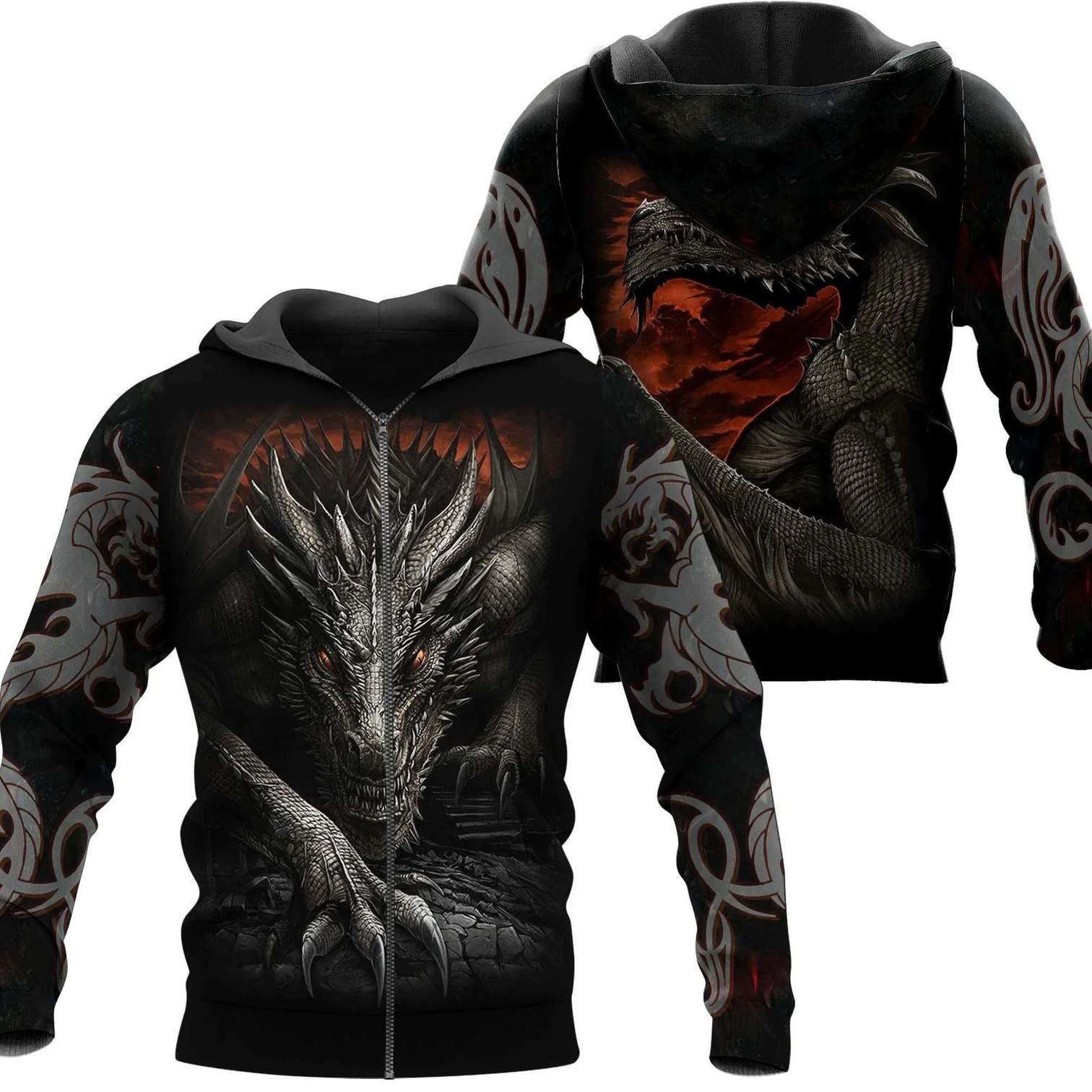 Dragon armor all over printed zip hoodie