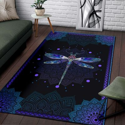 Dragondly all over print rug 2