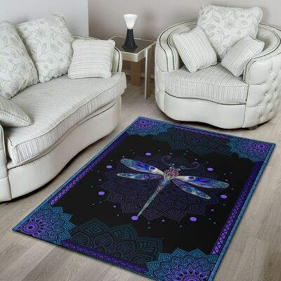 Dragondly all over print rug 3