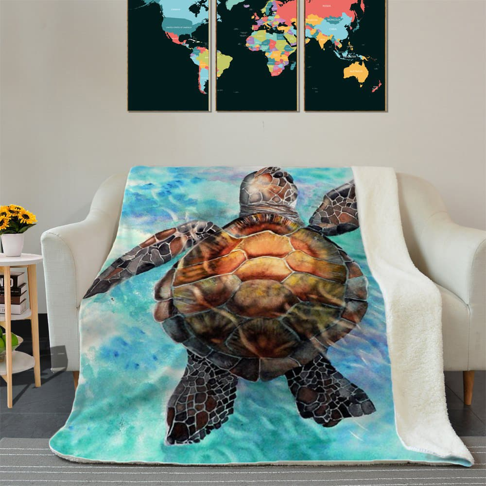 Finding the new way sea turtles full printing blanket 1