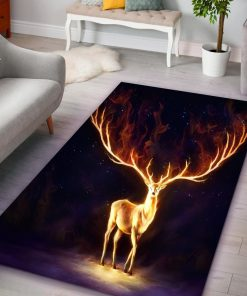 Fire deer all over printed rug 1