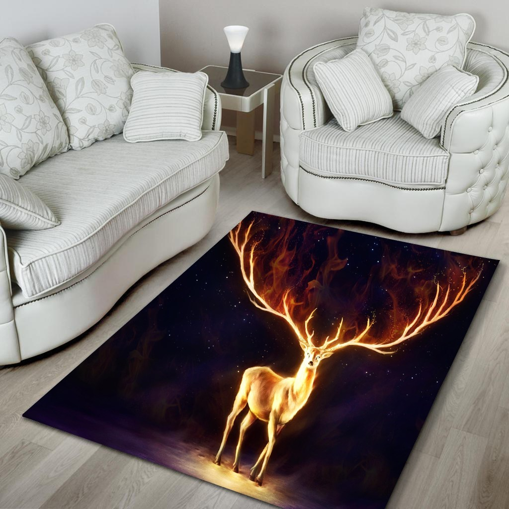 Fire deer all over printed rug 3