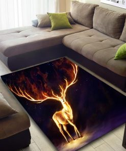 Fire deer all over printed rug 4