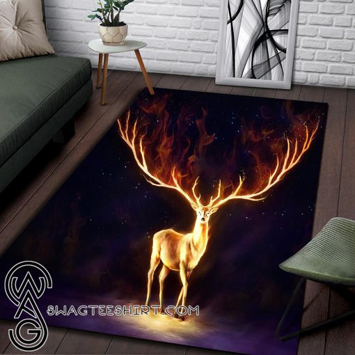 Fire deer all over printed rug