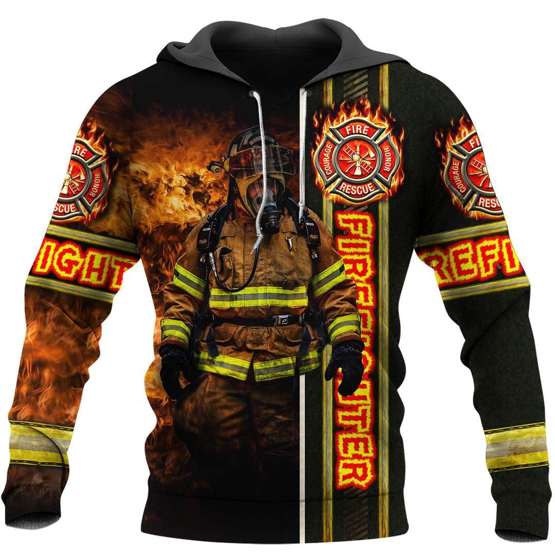 Fire fight 3d all over printed hoodie