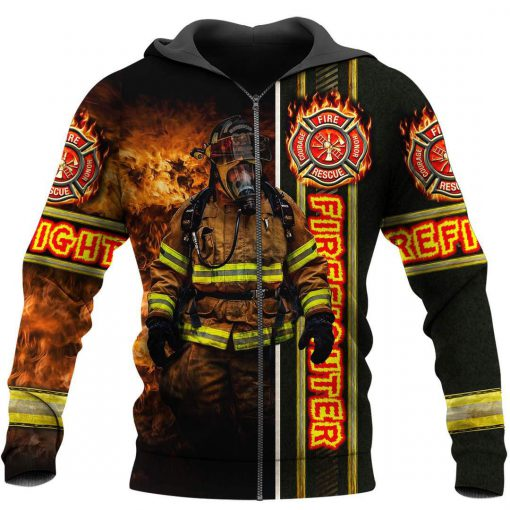 Fire fight 3d all over printed zip hoodie