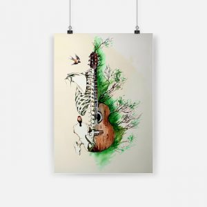 Guitar human anatomy watercolor skeletal system vertical poster 1