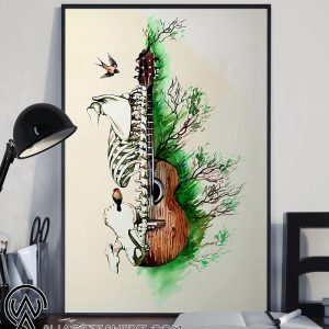 Guitar human anatomy watercolor skeletal system vertical poster