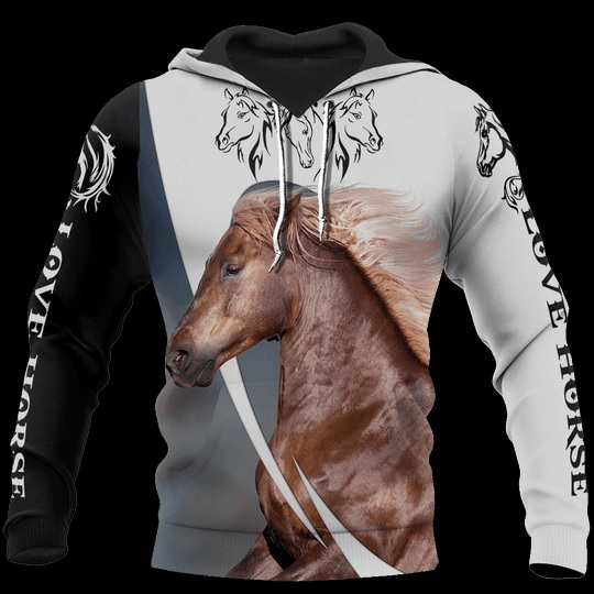 Love white horse all over printed hoodie