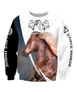 Love white horse all over printed sweatshirt