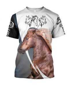 Love white horse all over printed tshirt