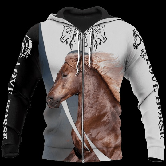 Love white horse all over printed zip hoodie