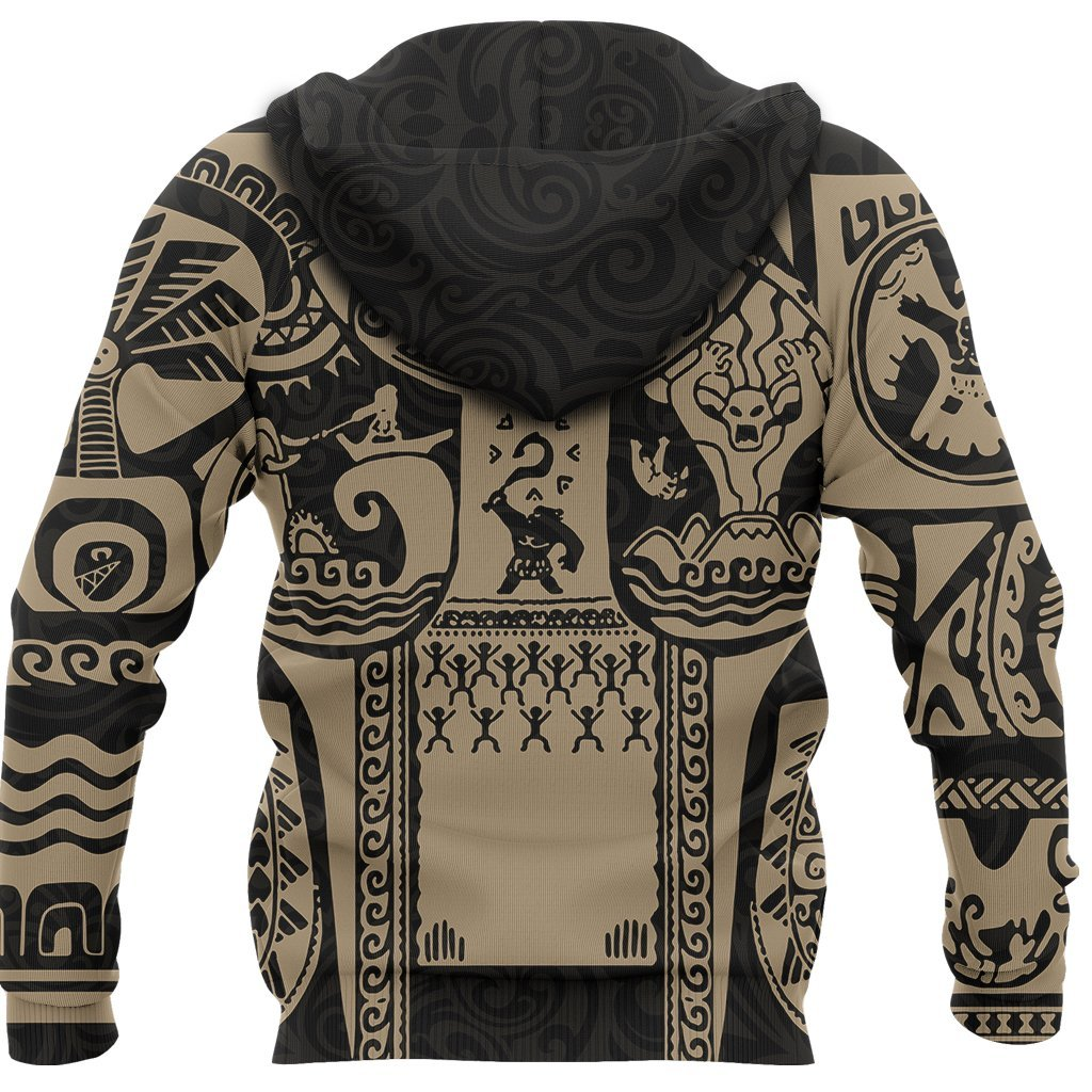 Maui polynesian tattoo all over print hoodie - back