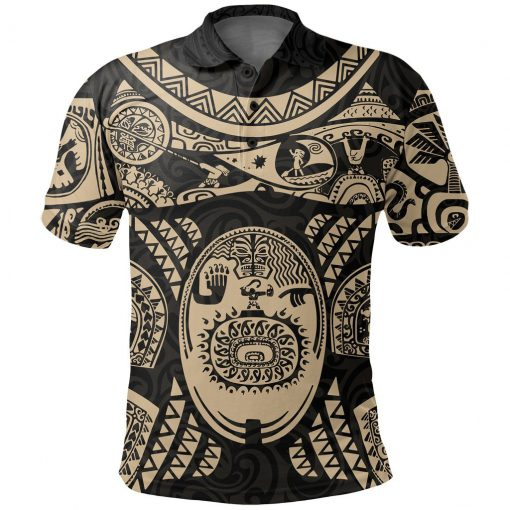Maui polynesian tattoo all over print polo shirt