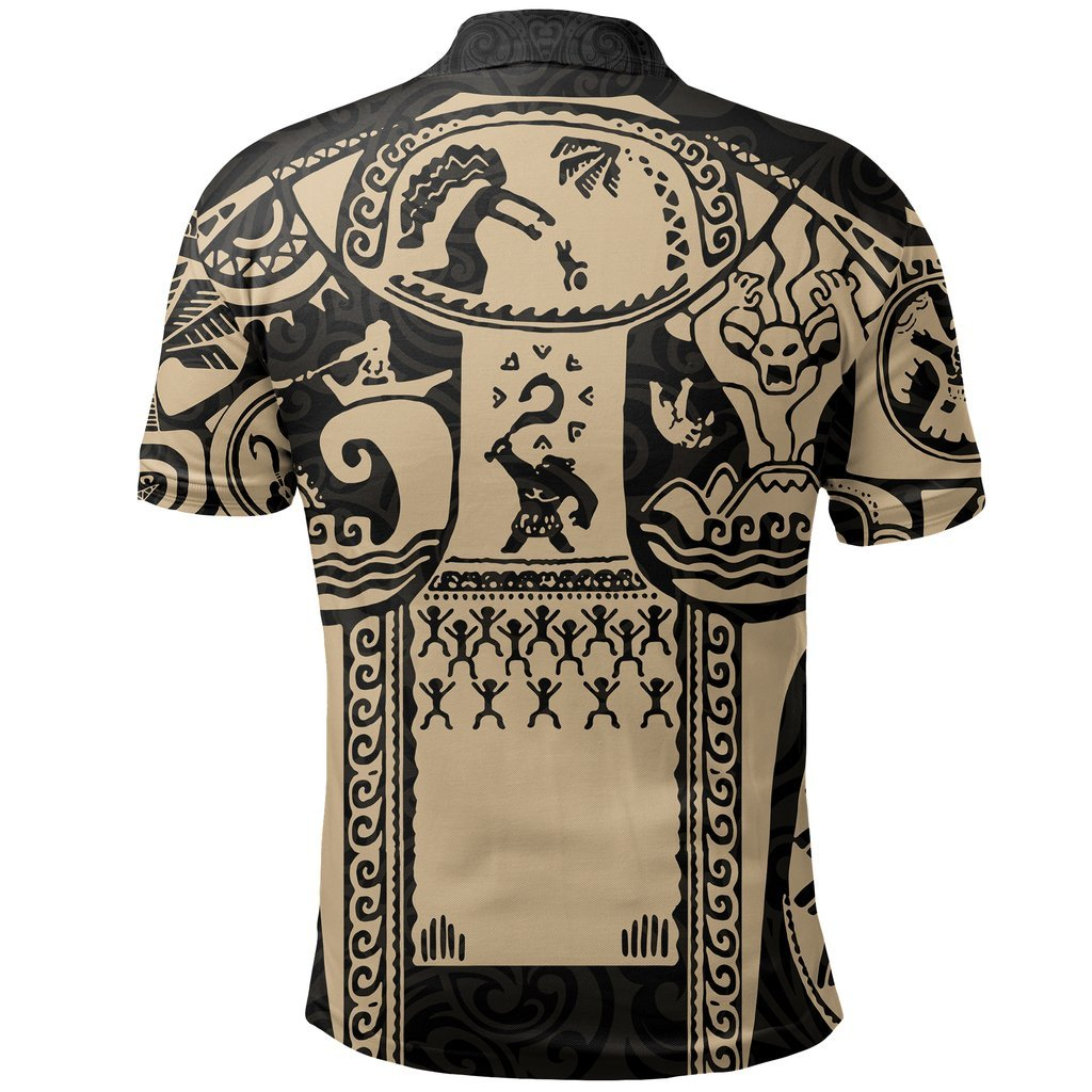 Maui polynesian tattoo all over print polo shirt - back