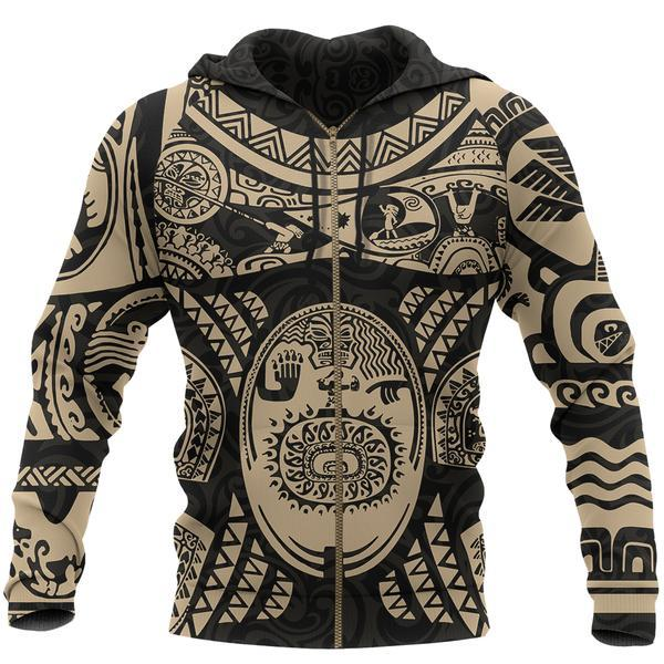 Maui polynesian tattoo all over print zip hoodie