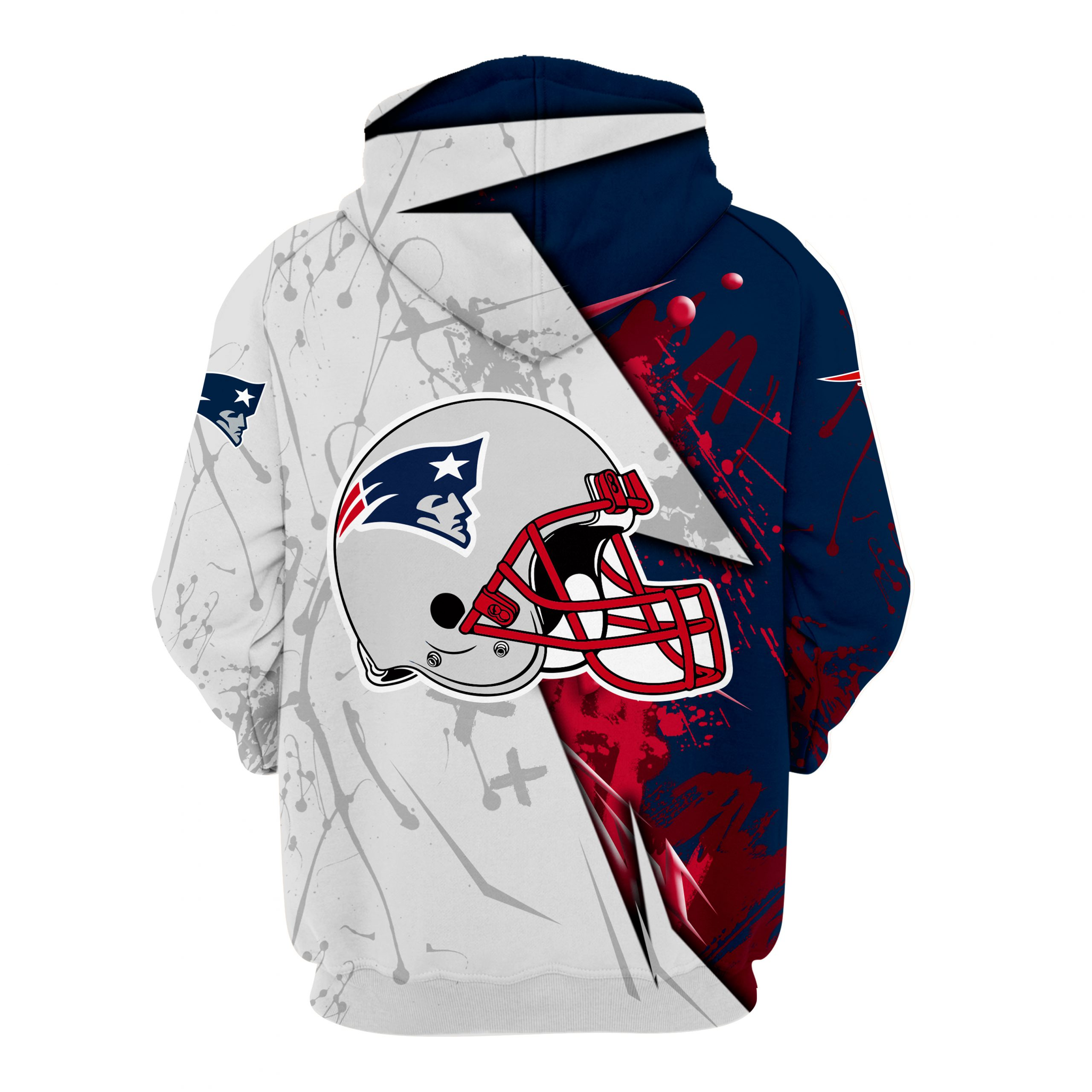 NFL new england patriots all over printed hoodie -back