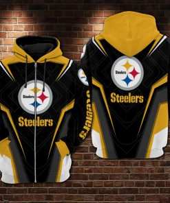 NFL pittsburgh steelers all over printed zip hoodie 1