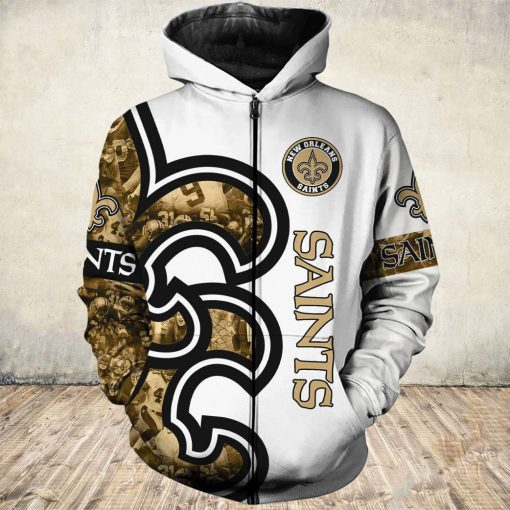 New orleans saints all over printed zip hoodie