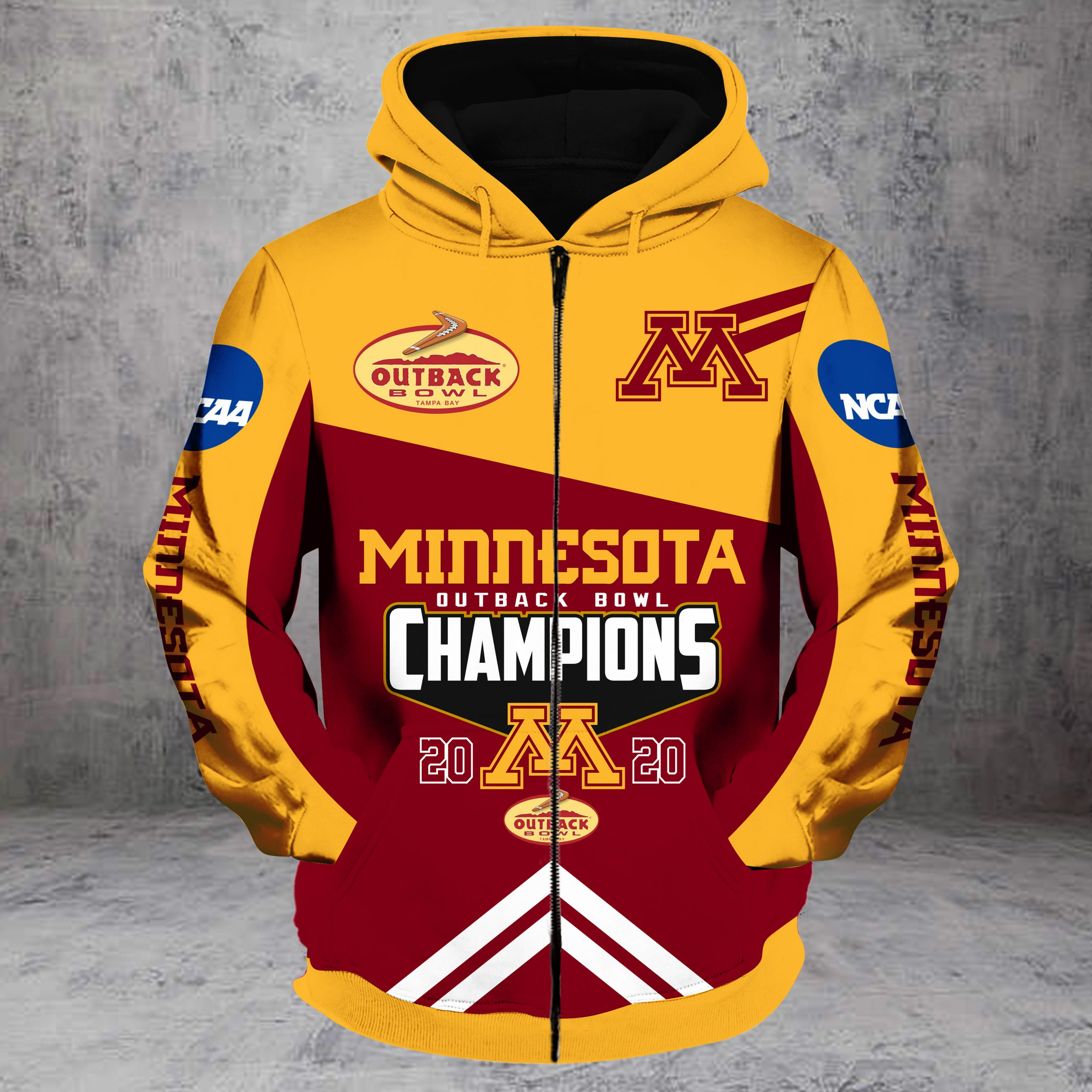 Outback bowl minnesota golden gophers champions all over print zip hoodie