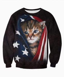 Patriotic kitten american flag all over print sweatshirt