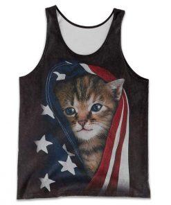 Patriotic kitten american flag all over print tank top