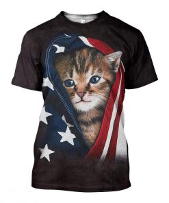 Patriotic kitten american flag all over print tshirt