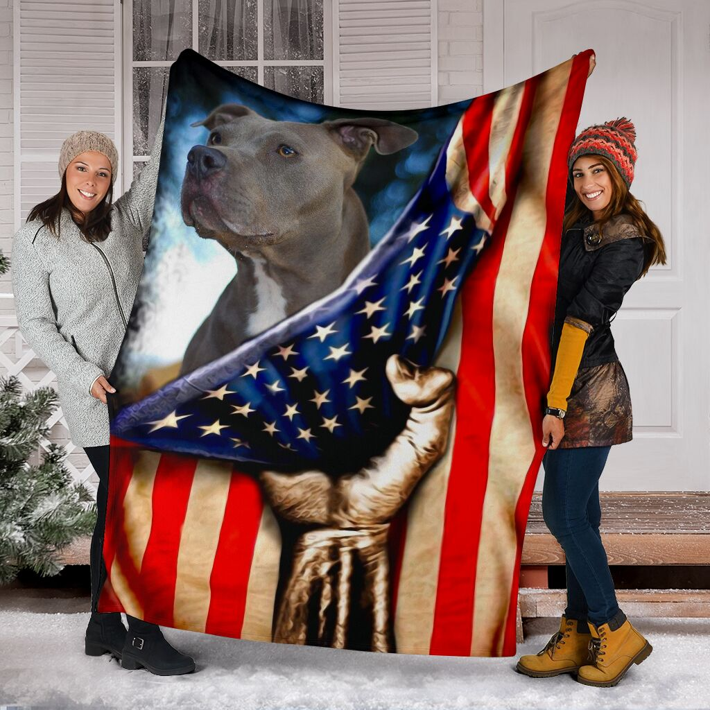 Pitbull behind the american flag blanket 2