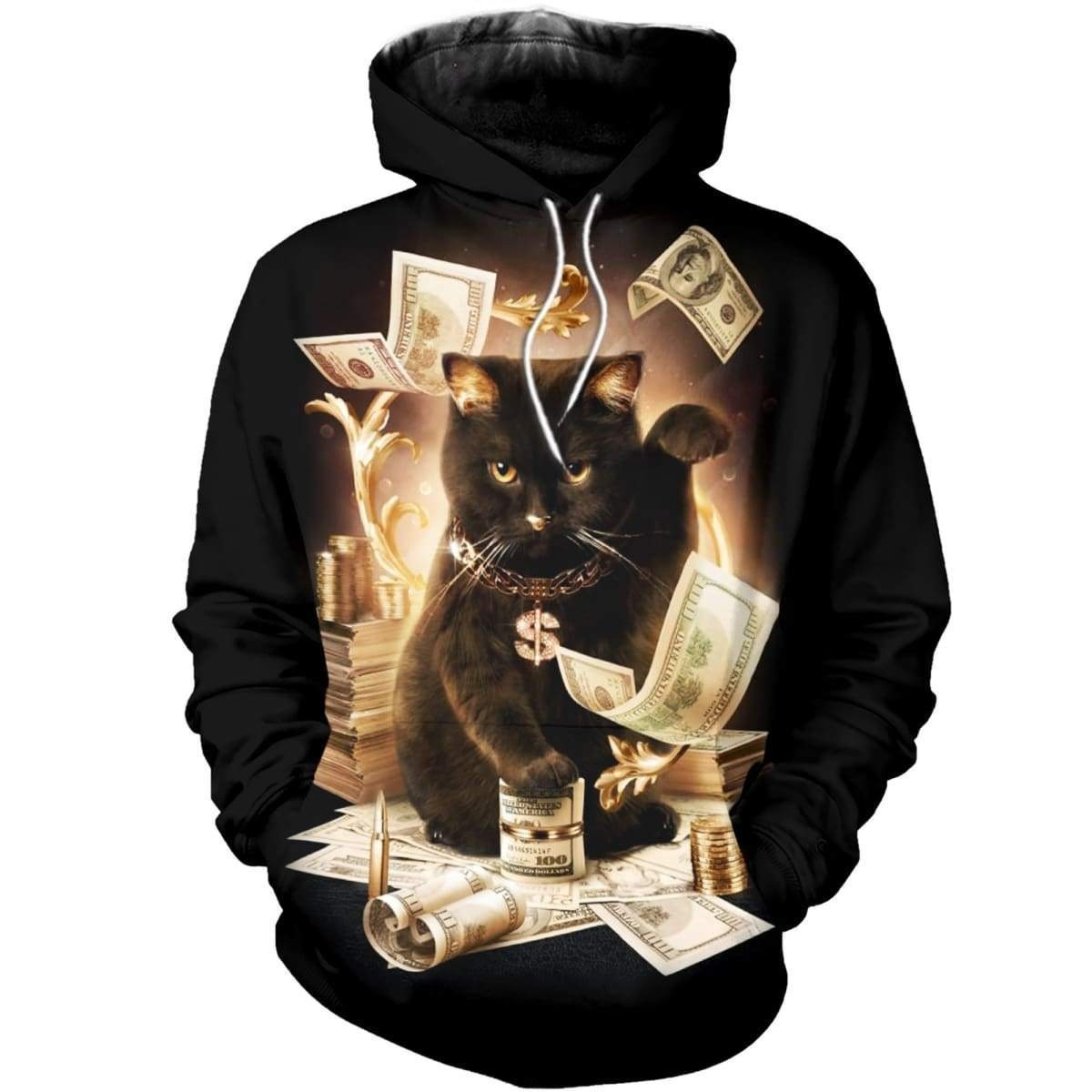 Rich cat all over print hoodie