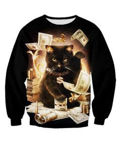 Rich cat all over print sweatshirt