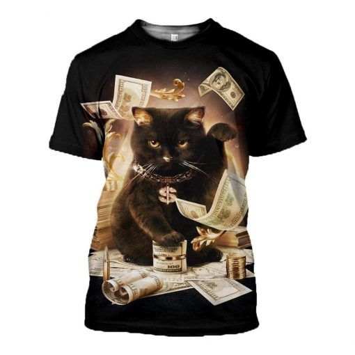 Rich cat all over print tshirt