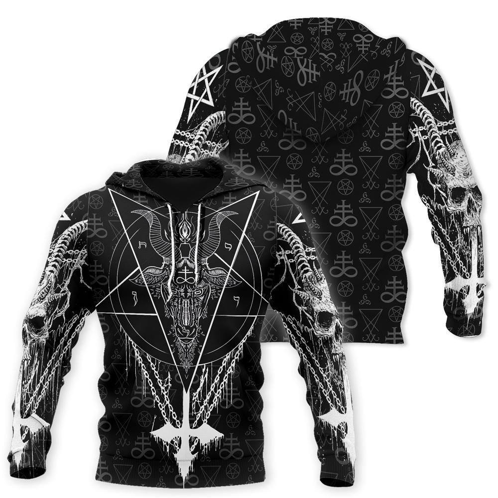 Satanic all over printed zip hoodie