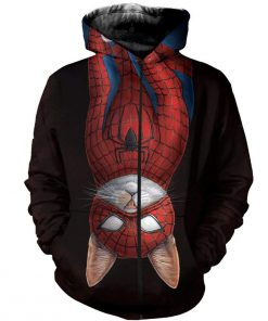 Spider-cat all over printed zip hoodie