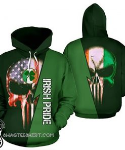 St patrick's day irish pride skull full printing shirt