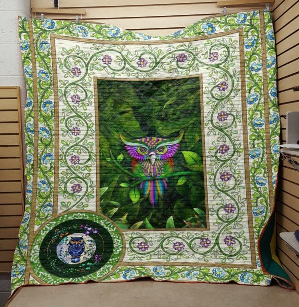 St patrick's day owl all over printed quilt 1