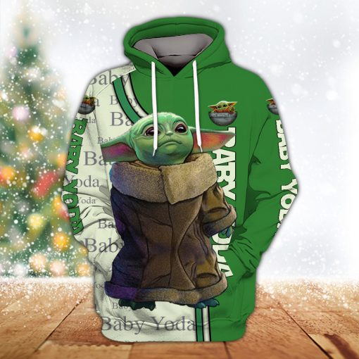 Star wars baby yoda all over printed hoodie