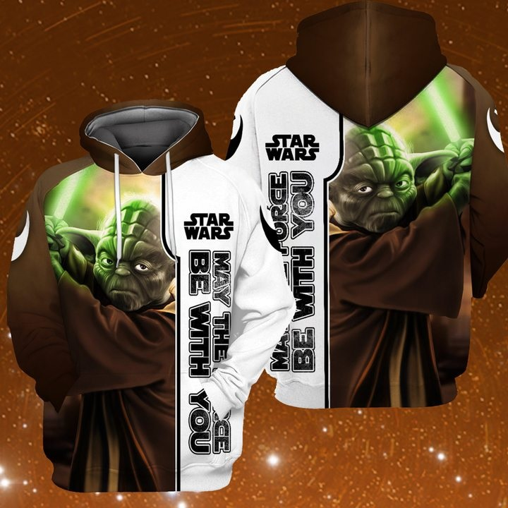 Star wars may the force be with you baby yoda full printing hoodie