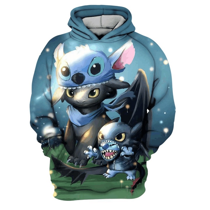 Stitch and toothless full printing hoodie
