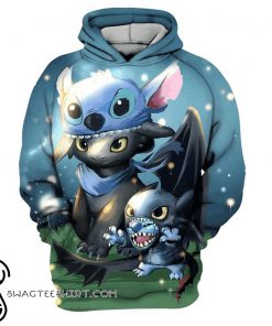 Stitch and toothless full printing shirt